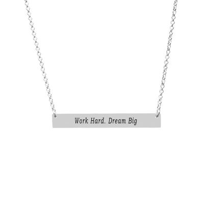 Customizable Bar Pendant Engraved With Phrase Work Hard Dream Big