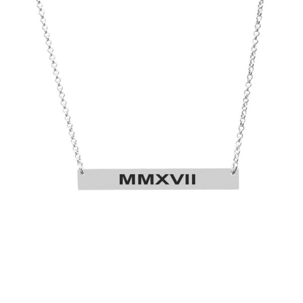 Customizable Bar Pendant Customized with Year 2017 in Roman Numbers