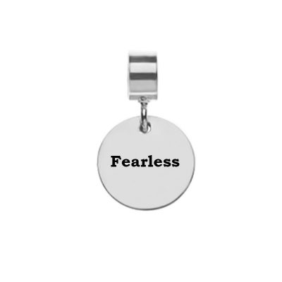 Bracelet Charm for Leather Bracelet with word Fearless