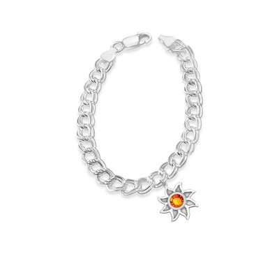 Colorado Collection Charm Sun Pendant With Topaz Red Swarovski Crystal for Sterling Silver Chain Bracelet