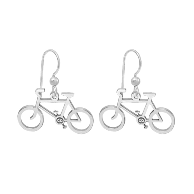 Kavalis Colorado Collections Sterling Silver Hoop Bicycle Earrings Personalized With Your State or Initials