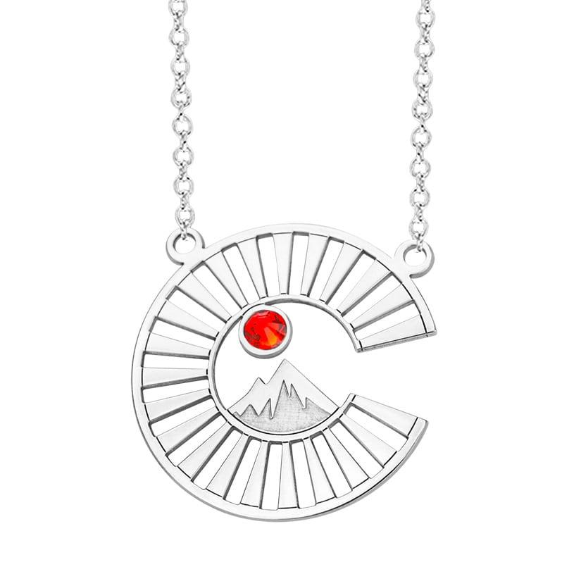 Kavalis Colorado Colorado Collection Sterling Silver Pendant with Colorado Logo and Topaz Red Swarovski Crystal