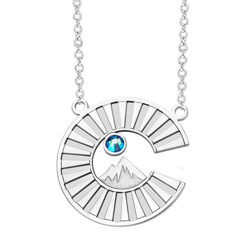 Colorado Collection Sterling Silver pendant Colorado logo engraved mountain sun rays and sky blue Swarovski Crystal