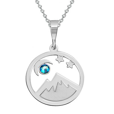 Sterling Silver Pendant Colorado Landscape With Moon and Stars