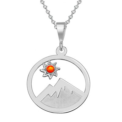Sterling Silver Pendant of Colorado Landscape with Engraved Mountain and Sun