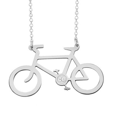 Sterling Silver Bicycle Pendant Personalized With Your State or Initials