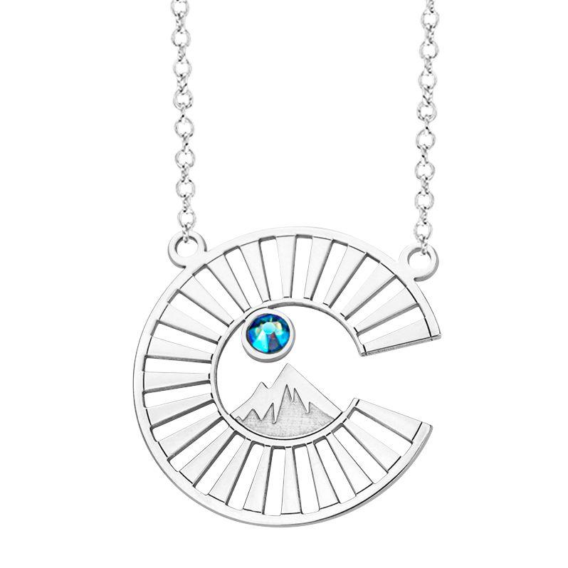 Sterling Silver Pendant with Colorado Logo and Sky Blue Swarovski Crystal