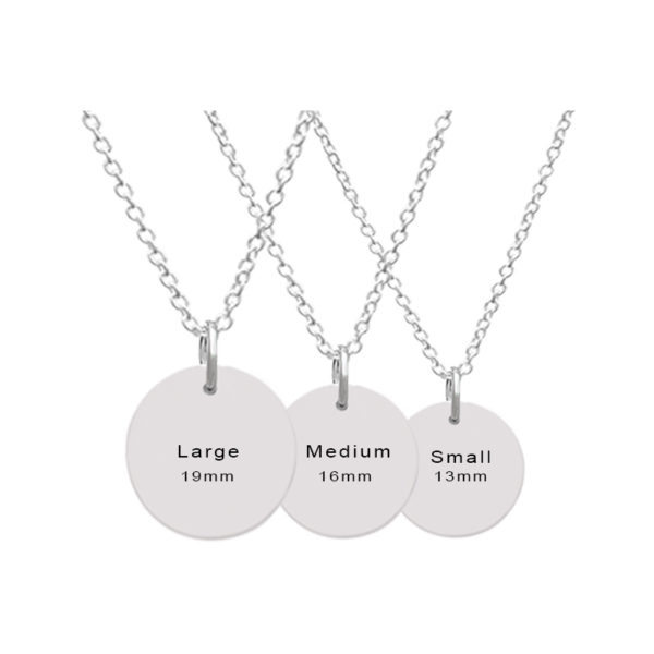 Customizable Disc Pendants with Three Sizes Available - Small- Mediam- Large