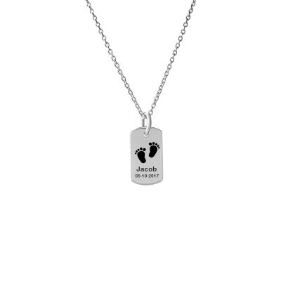 Customizable Dog Tag Small Customized With Footprint and Name Jacob