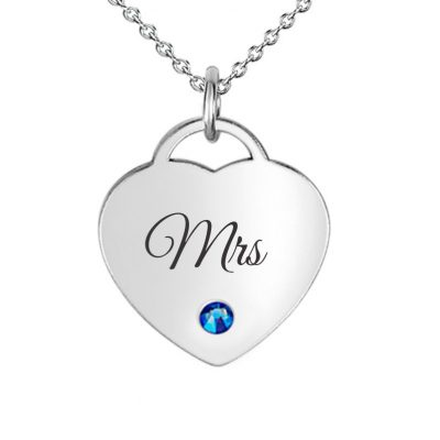 Dainty Heart Pendant With Blue Swarovski engraved with Mrs