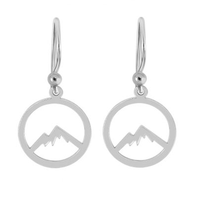 Kavalis Colorado Collection Silver Hoop Earrings with Outline of the Colorado Rocky Mountains
