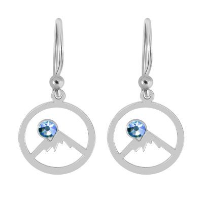 Colorado Collection Silver Earrings Outline Colorado Rockies and Sky Blue Swarovski Crystal