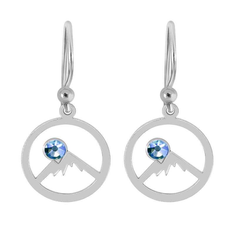 c78b9f1a Sterling Silver Hoop Earrings of Colorado Rockies with Outline of Mountains  and Sky-Blue Swarovski Crystal