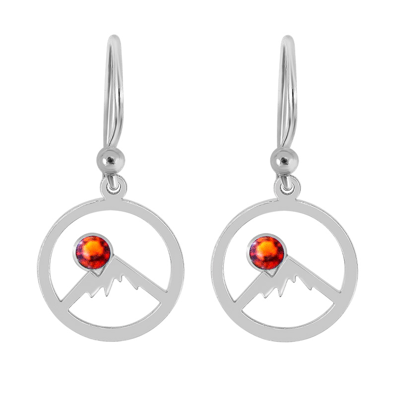 fbc97768 Sterling Silver Hoop Earrings of Colorado Rockies with Outline of Mountains  and Topaz Red Swarovski Crystal