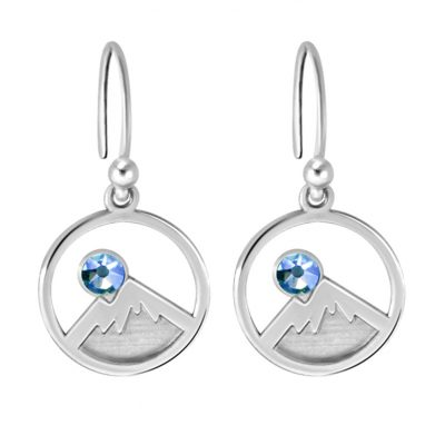 Kavalis Colorado COllection Silver Earrings Engraved Mountains and Sky Blue Swarovski Crystal