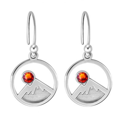 Kavalis Colorado Collection Silver Earrings Engraved Mountains and Topaz Red Swarovski Crystal