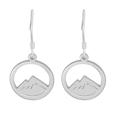 Kavalis Colorado Collection Sterling Silver Hoop Earrings with Engraved Rocky Mountains
