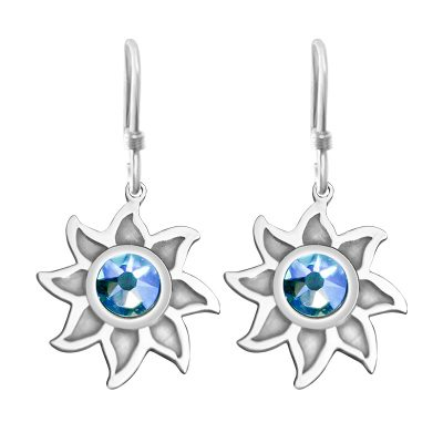 Colorado Collection Hoop Earrings Sunshine With Sky Blue Swarovski Crystal