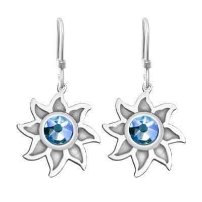 Colorado Collection Hoop Earrings Sunshine With Sky Blue Swarovski Crystal