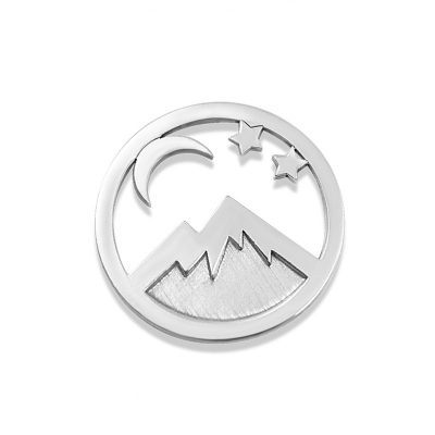 Kavalis Colorado Collection sterling silver interchangeable locket insert of Colorado landscape with the mountain and moon