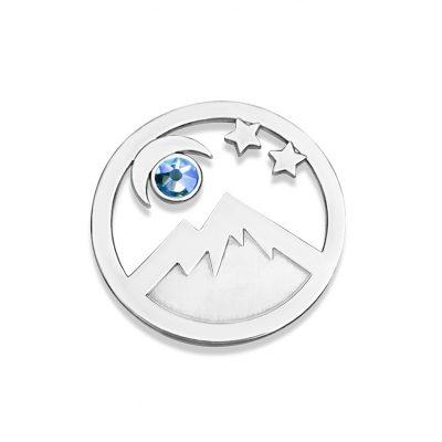Kavalis Colorado Collection sterling silver interchangeable locket insert of Colorado landscape with the mountain and moon adorned with a sky-blue Swarovski crystal