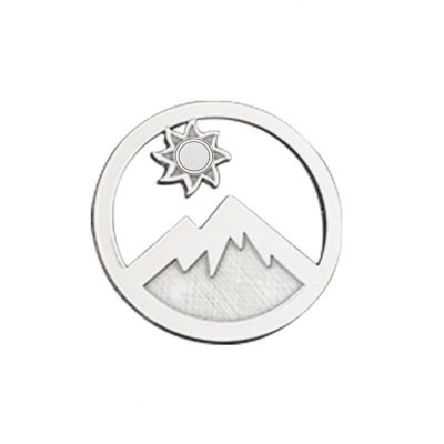 Kavalis Colorado Collection sterling silver interchangeable locket insert of Colorado landscape with the mountain and sun