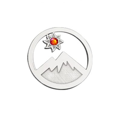 Kavalis Colorado Collection sterling silver interchangeable locket insert of Colorado landscape with the mountain and sun adorned with a topaz red Swarovski crystal
