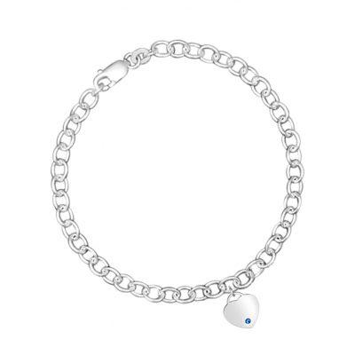 Link Bracelet With Heart Charm and Blue Swarovski Crystal