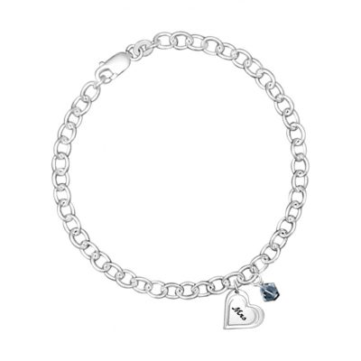 Chain bracelet with heart engraved with Mrs and blue Swarovski charm