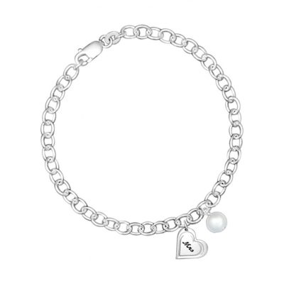 Chain bracelet with heart engraved with Mrs