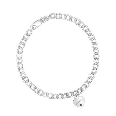 Link Bracelet With Heart Charm and Blue Swarovski Crystal