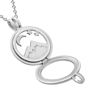 Kavalis Colorado Collection sterling silver open locket with interchangeable insert of Colorado landscape with the mountain and moon