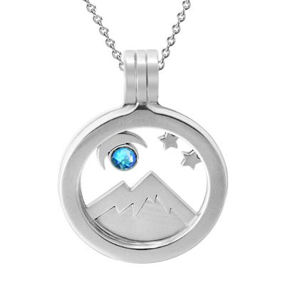 Kavalis Colorado Collection sterling silver locket with interchangeable insert of Colorado landscape with the mountain and moon adorned with a sky-blue Swarovski crystal