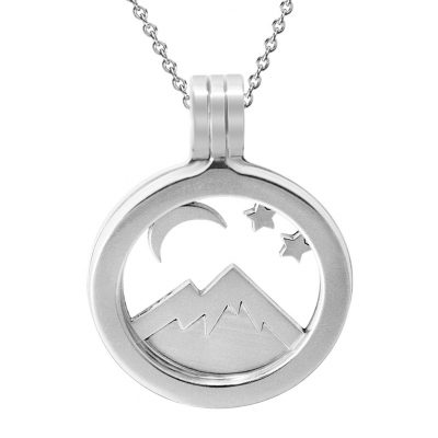 Kavalis Colorado Collection. Sterling Silver Locket with Interchangeable Insert of Colorado Rockies with Mountain and Moon