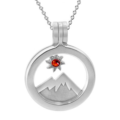 Kavalis Colorado Collection sterling silver locket with interchangeable Insertof Colorado landscape with the mountain and sun adorned with a topaz red Swarovski crystal