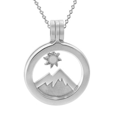 Kavalis Colorado collection sterling silver locket with interchangeable insert of Colorado landscape with the mountain and sun.