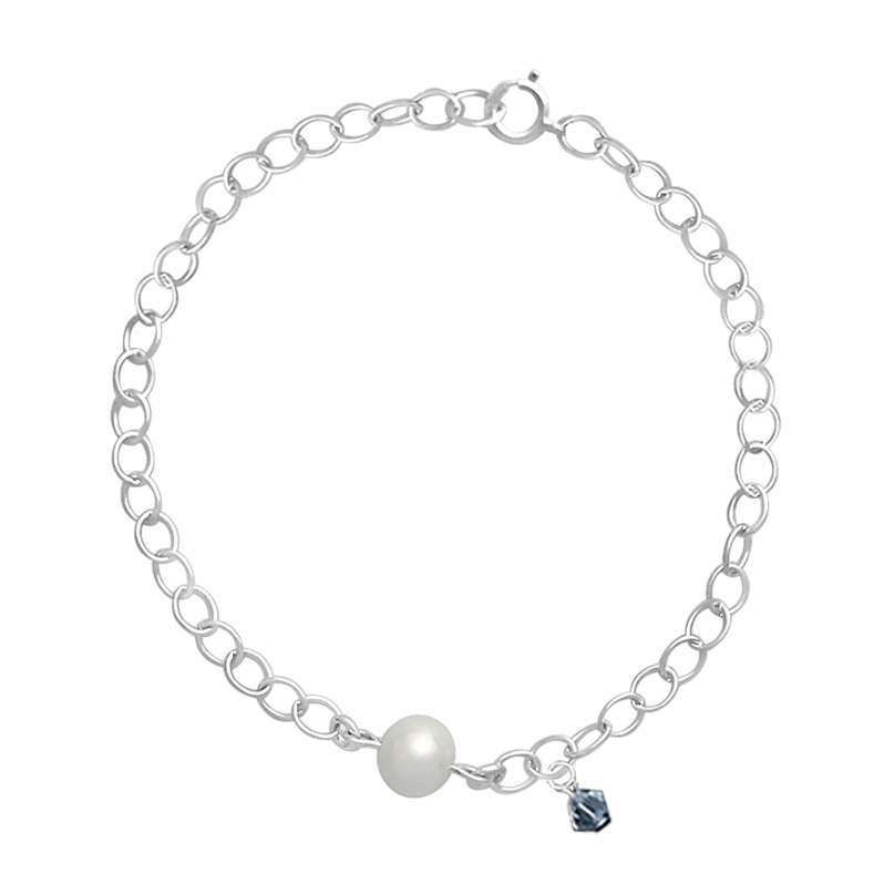 Link Chain Bracelet With Fresh Water Pearl And Blue Swarovski Charm