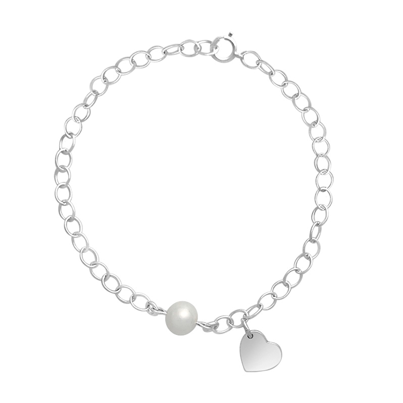 Link charm bracelet with heart charm and fresh water pearl