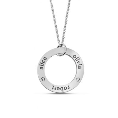 Customizable Open Disc Pendant engraved with kid's names