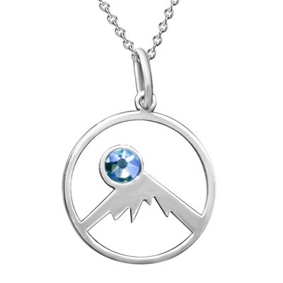 Kavalis Colorado Collection Silver Pendant Outline Colorado Rockies and Sky Blue Swarovski Crystal