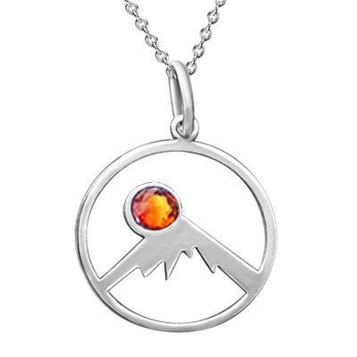 Kavalis Colorado Collection Silver Pendant Outline Colorado Rockies and Topaz Red Swarovski Crystal