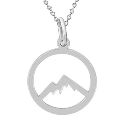 Kavalis Colorado Collection Sterling Silver Pendant with Outline of Colorado Rocky Mountains