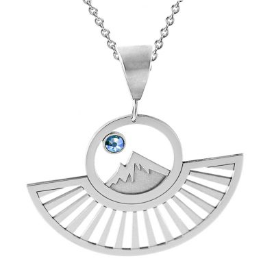Colorado CollectionPendant of Colorado Rockies with Sunrays and Blue Swarovski Crystal