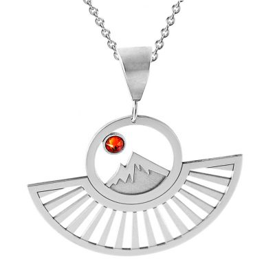 Kavalis Colorado Collection Statement Pendant of Colorado Rockies with Sunrays and Red Swarovski Crystal
