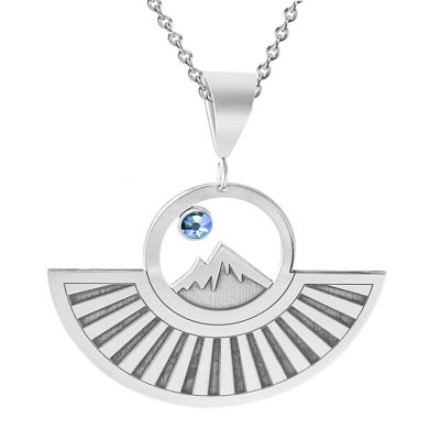 Kavalis Colorado Collection Pendant of Colorado Rockies Engraved Sunrays and Blue Swarovski Crystal