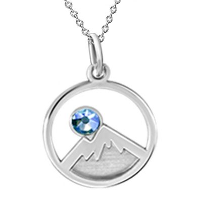 Kavalis Collection Silver Pendant Engraved Mountains and Sky Blue Swarovski Crystal