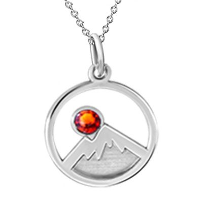Kavalis Collection Silver Pendant Engraved Mountains and Topaz Red Swarovski Crystal
