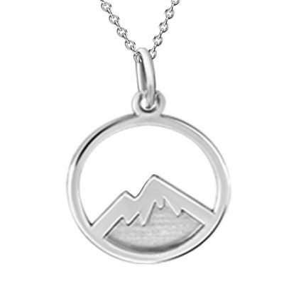 Kavalis Colorado Collection Sterling Silver Pendant with Engraved Colorado Rocky Mountains
