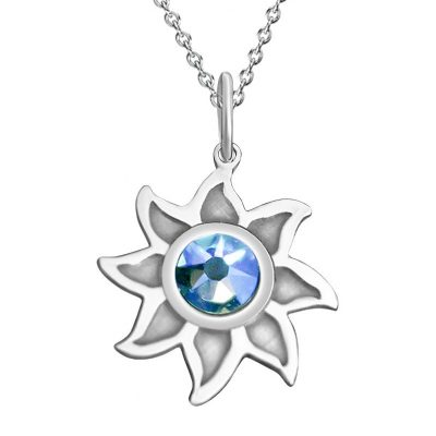 Kavalis Colorado Collection Sterling Silver Sunshine Pendant with Sky-Blue Swarovski Crystal