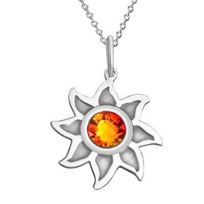 Kavalis Colorado Collection Sterling Silver Sunshine Pendant with Topaz Red Swarovski Crystal
